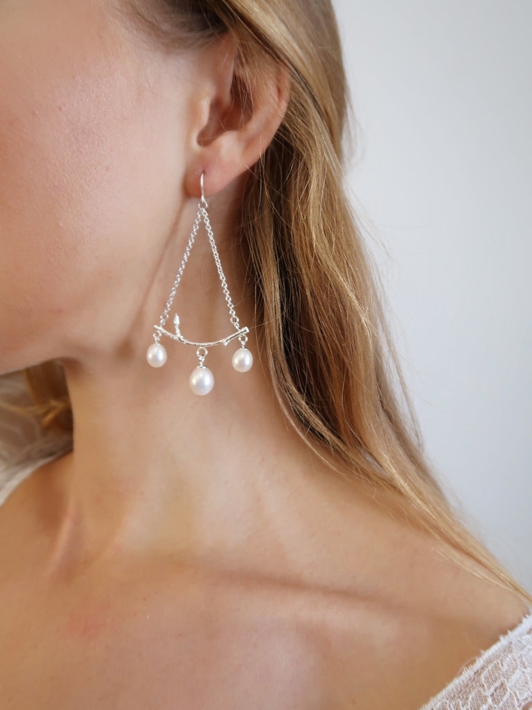 Branch Chandelier Earrings with Pearls