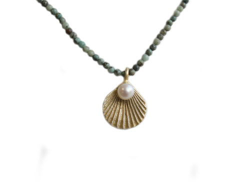 Sea Scallop with Turquoise Necklace