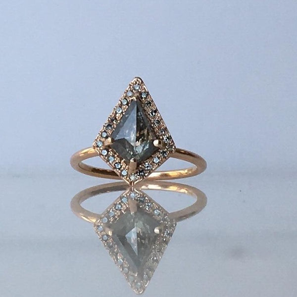 Salt & Pepper Kite Diamond Halo Ring | Magpie Jewellery