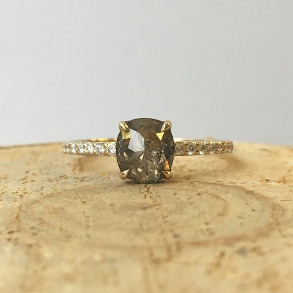 Yellow Gold Ring w/ .78ct Salt & Pepper Rose Cut Cushion Diamond