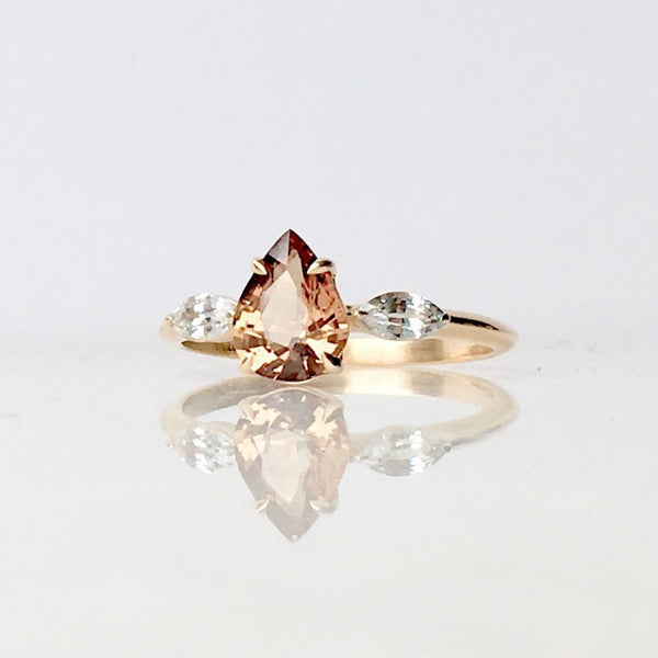 14k Gold 1.16ct Peach Sapphire Solitaire w/ Shoulder Marquise Diamond Engagement Ring