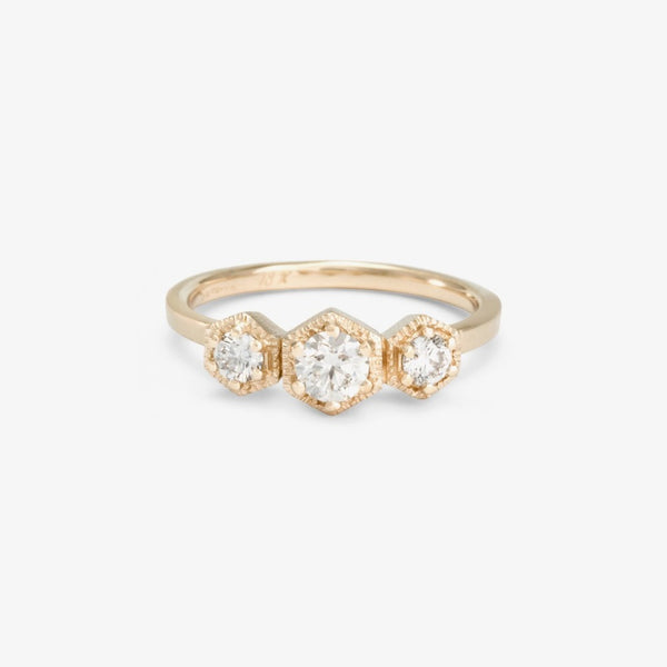 Triple Hexagon Diamond Ring