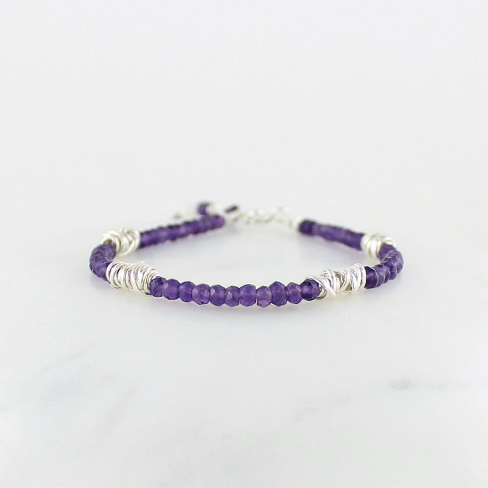 Silver Twist Stacking Bracelet | Magpie Jewellery | Amethyst