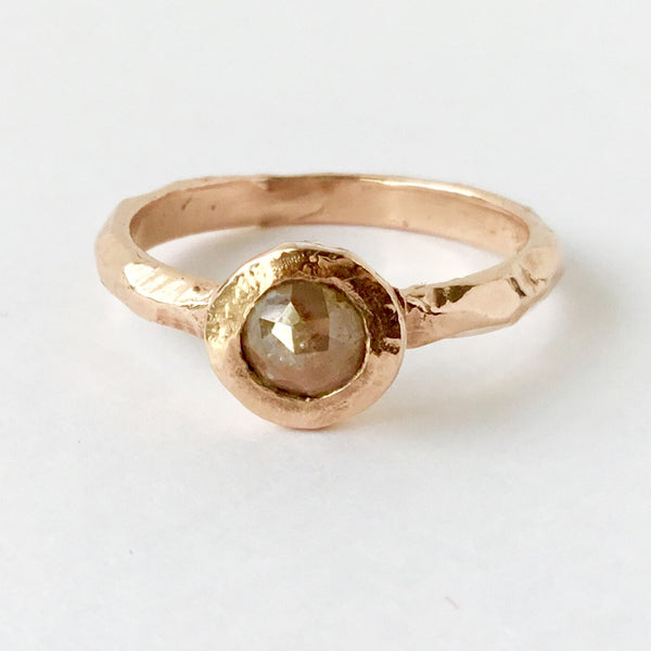 Champagne Rose Cut Diamond 14k Rose gold Solitaire