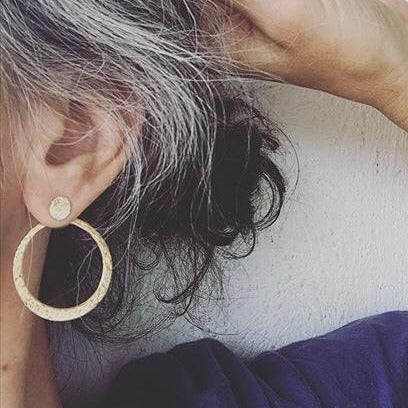 Large Textured Circle Ear Jackets | Magpie Jewellery