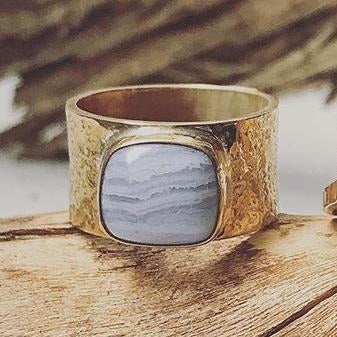 Blue Lace Agate Straight Texture Band | Magpie Jewellery