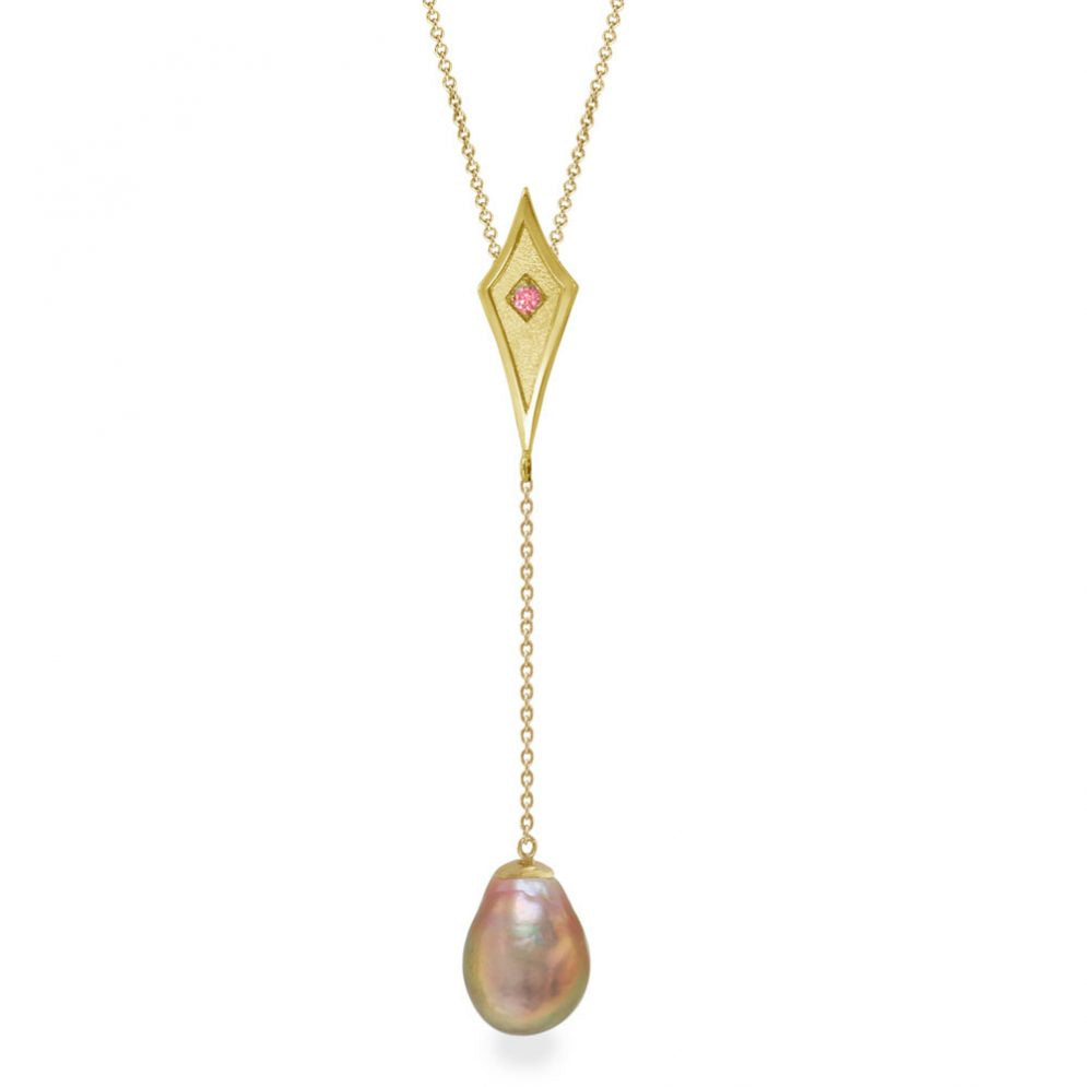 Kasumiga Pearl Drop with Pink Sapphire