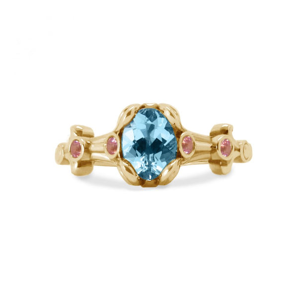 Aquamarine Yellow Gold Engagement Ring