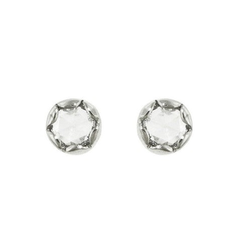 Lottie Rose Cut Diamond Stud Earrings - White Gold