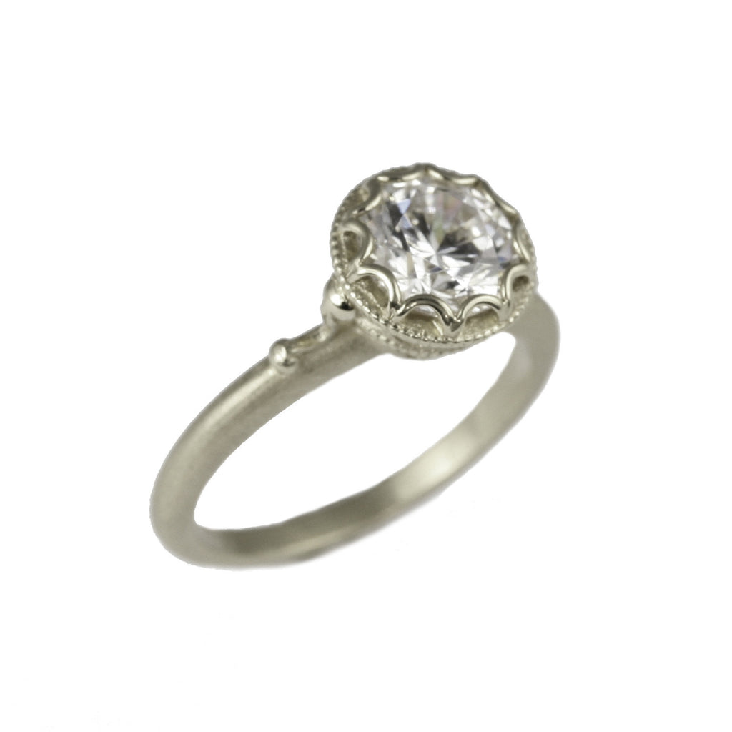 Scalloped Bezel Ring White Gold | Magpie Jewellery