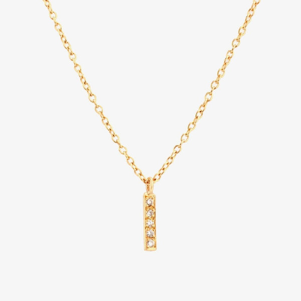 Gold Small Diamond Bar Necklace | Magpie Jewellery