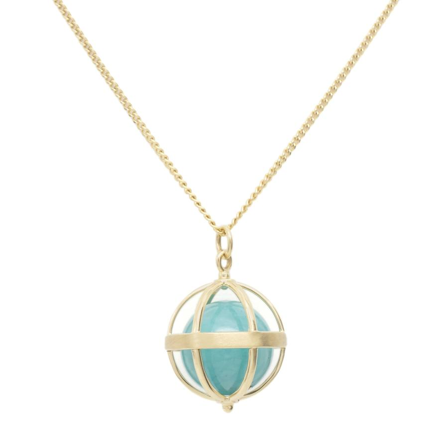 Large Cage Necklace w/ Gemstone Ball - Amazonite no pave