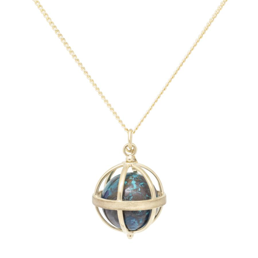 Large Cage Necklace w/ Gemstone Ball - Chrysocolla no pave