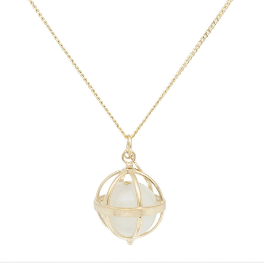 Large Cage Necklace w/ Gemstone Ball - Moonstone no pave