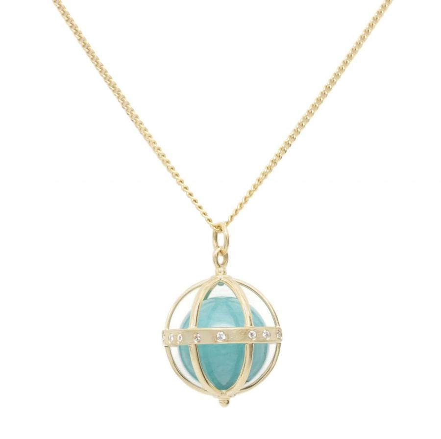 Large Cage Necklace w/ Gemstone Ball - Amazonite scattered pave