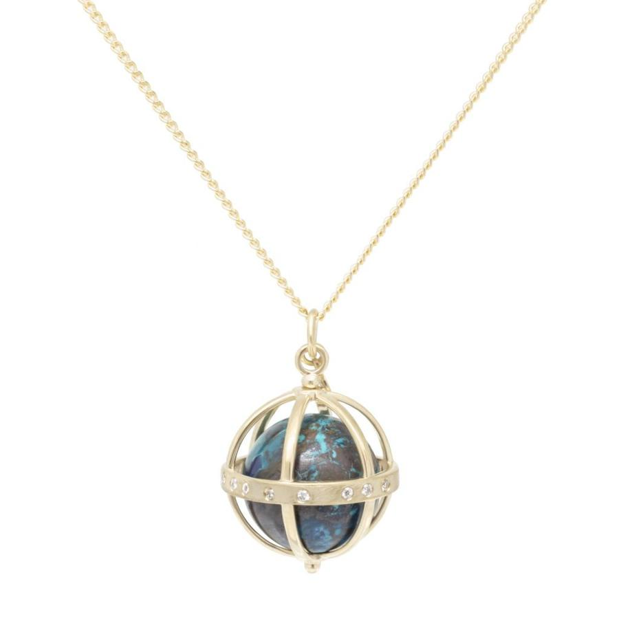 Large Cage Necklace w/ Gemstone Ball - Chrysocolla scattered pave