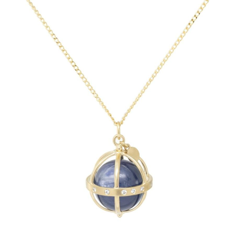 Large Cage Necklace w/ Gemstone Ball - Kyanite scattered pave