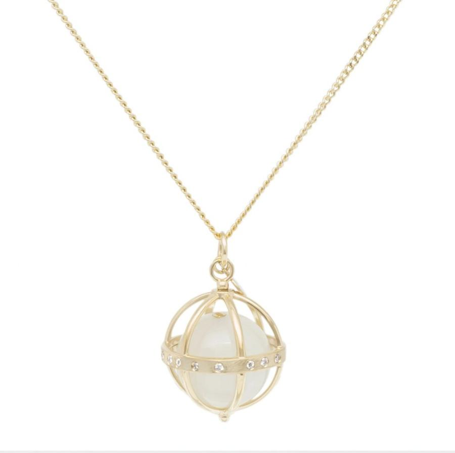 Large Cage Necklace w/ Gemstone Ball - Moonstone scattered pave