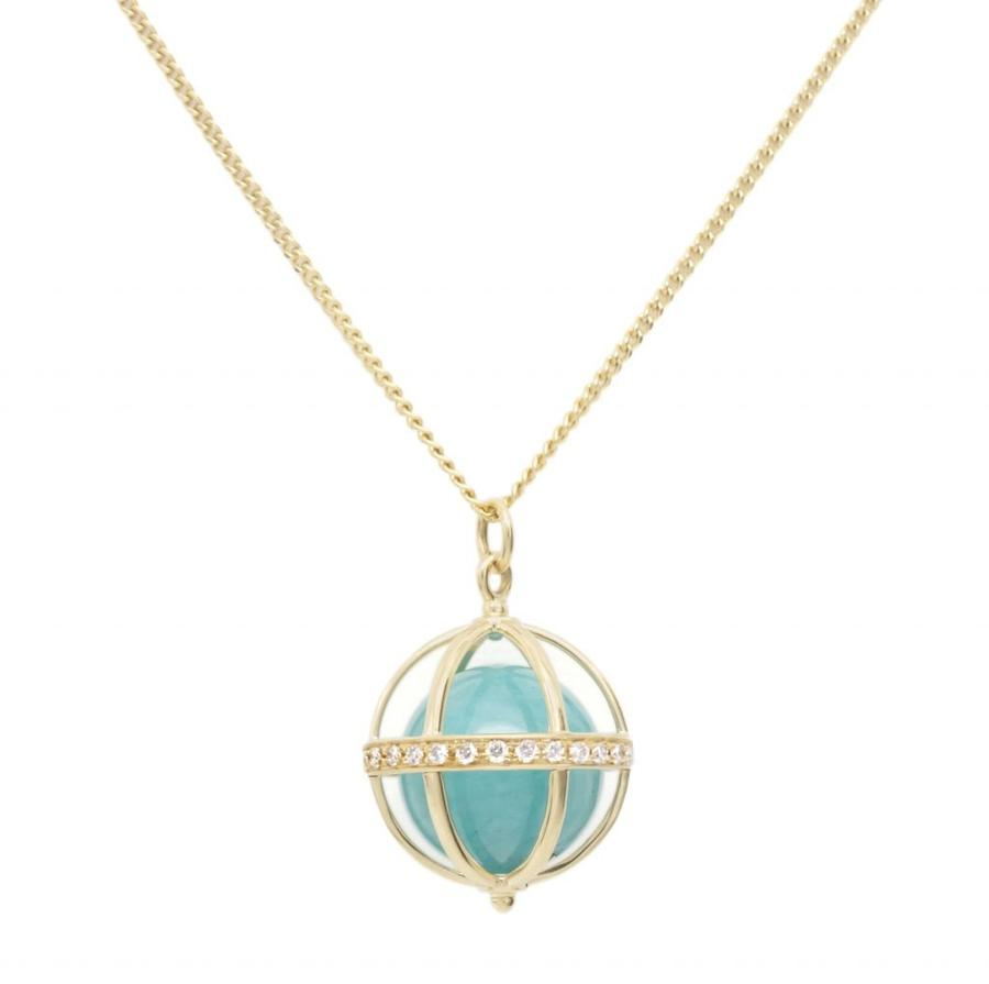 Large Cage Necklace w/ Gemstone Ball - Amazonite full pave