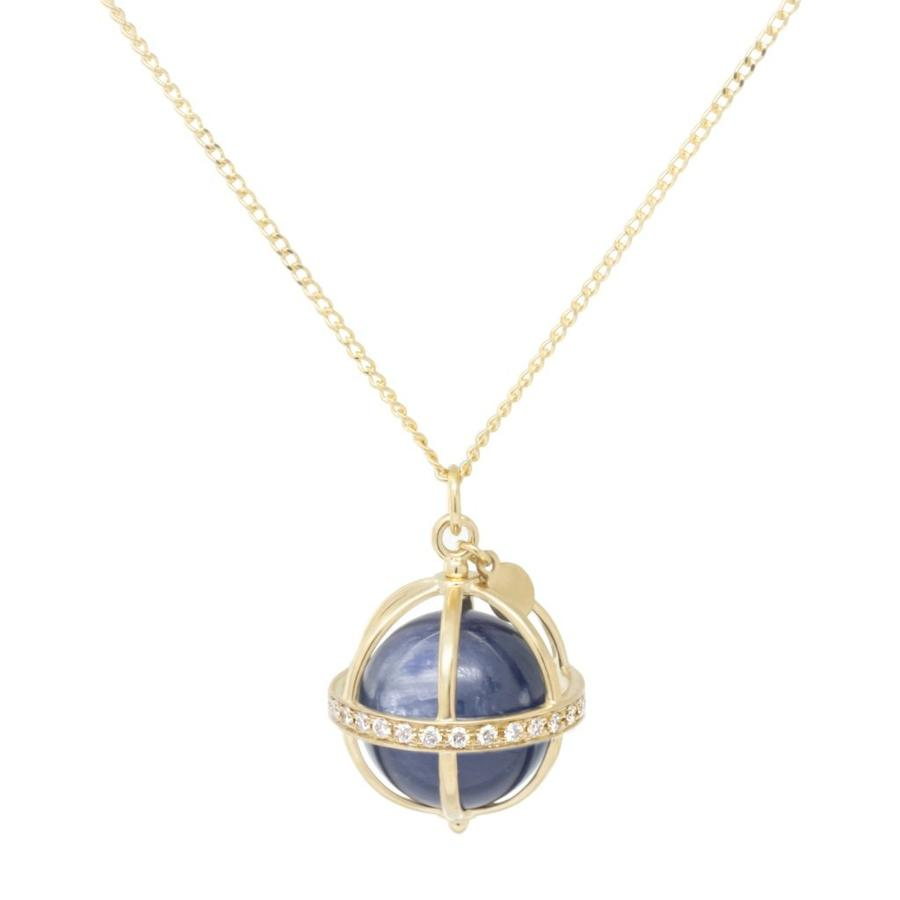 Large Cage Necklace w/ Gemstone Ball - Kyanite full pave
