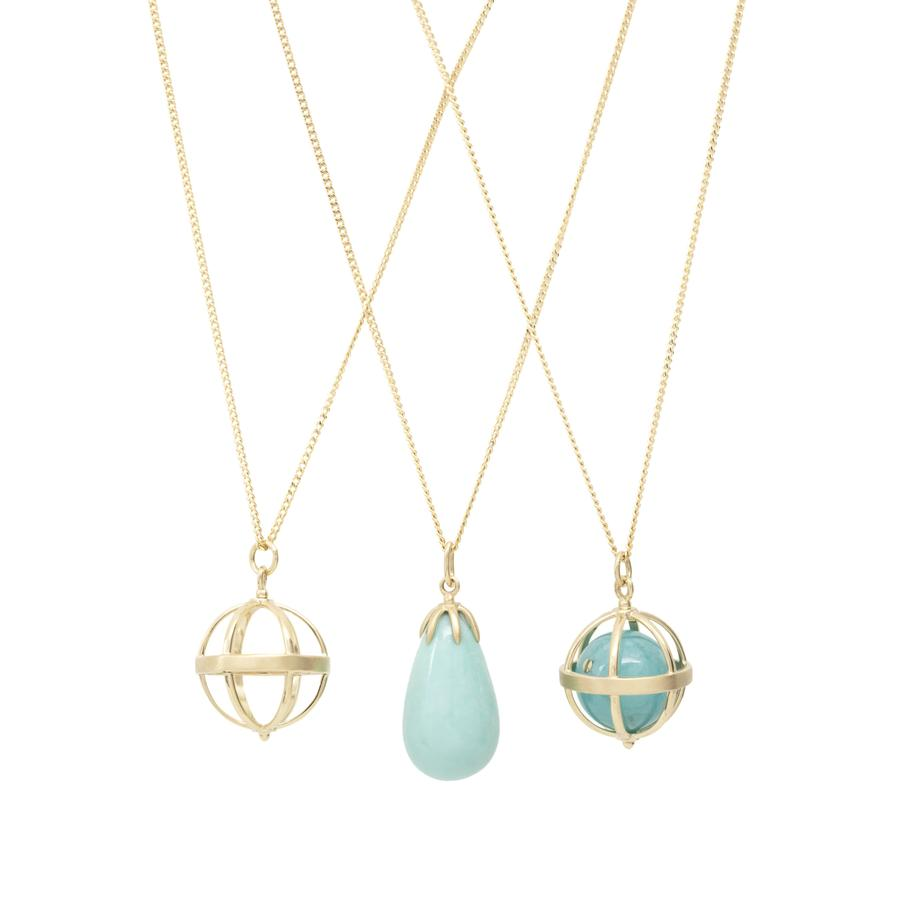 Large Cage Necklace w/ Gemstone Ball