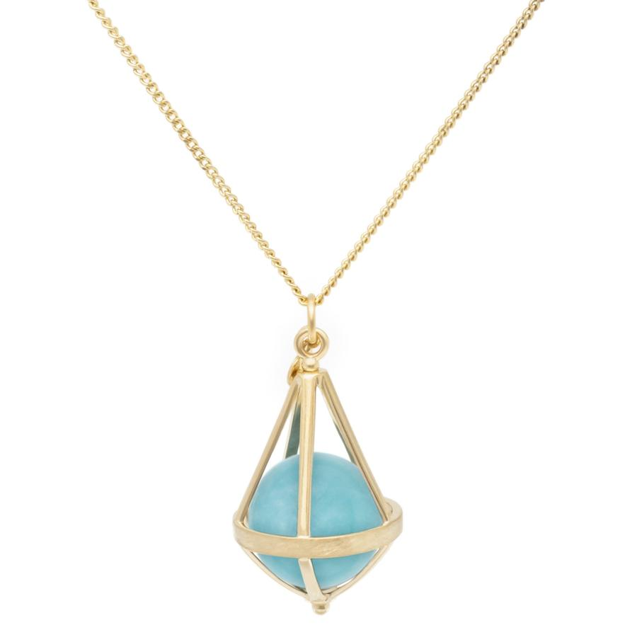 Pentagonal Cage Necklace - amazonite , no pave