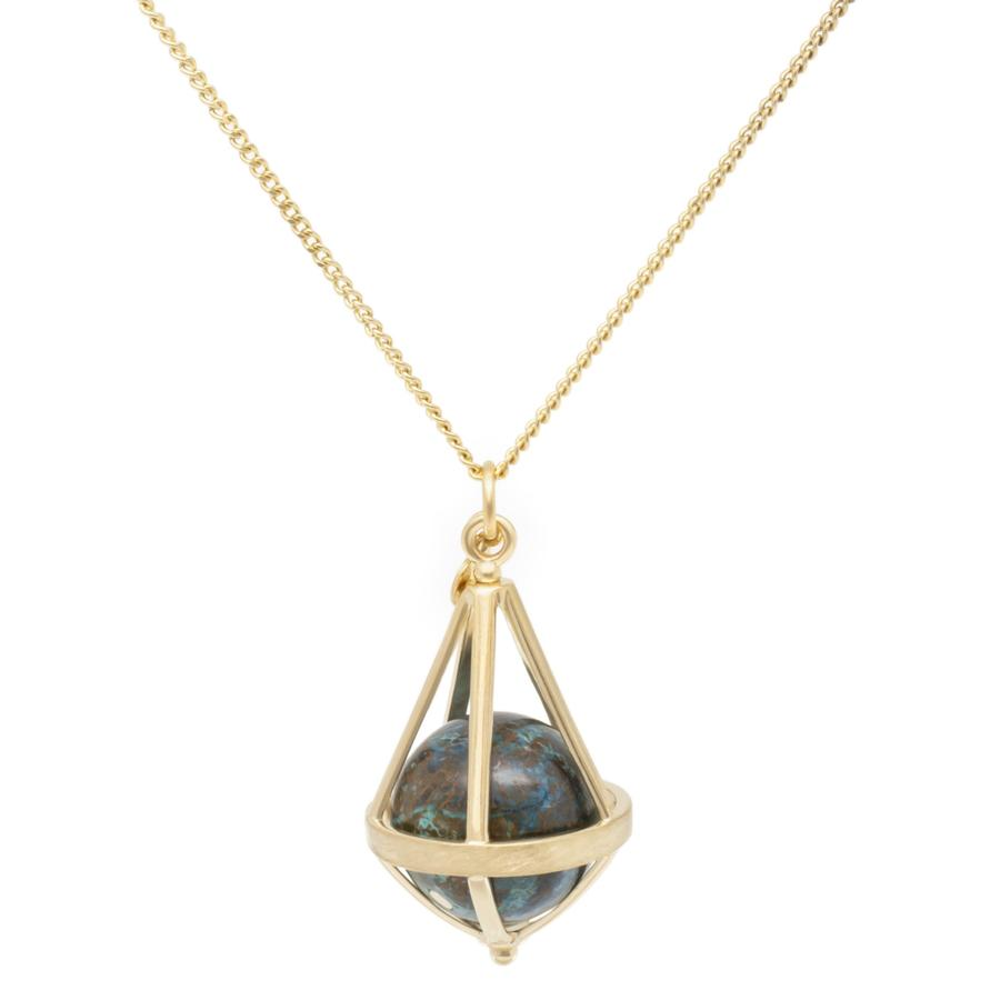Pentagonal Cage Necklace - chrysocolla, no pave