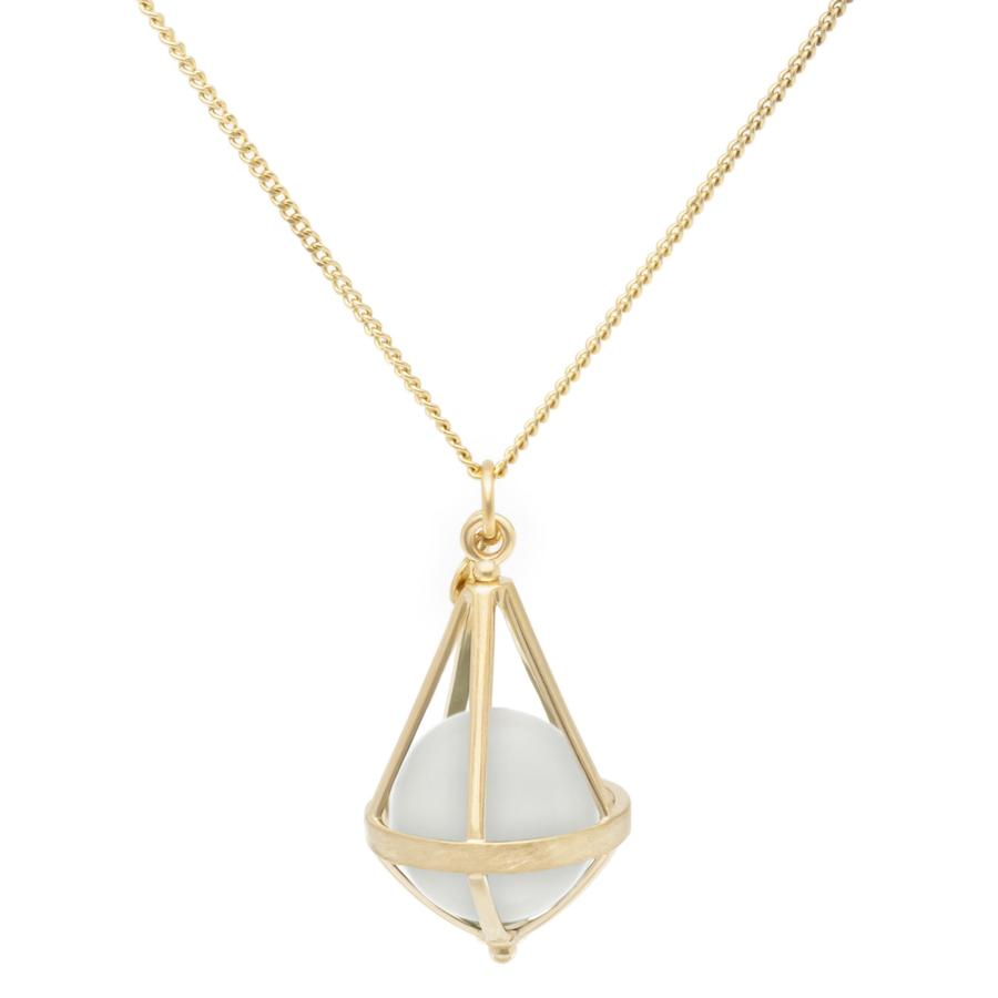 Pentagonal Cage Necklace - moonstone, no pave