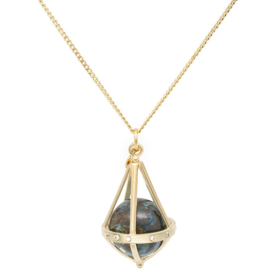 Pentagonal Cage Necklace - chrysocolla, scattered pave