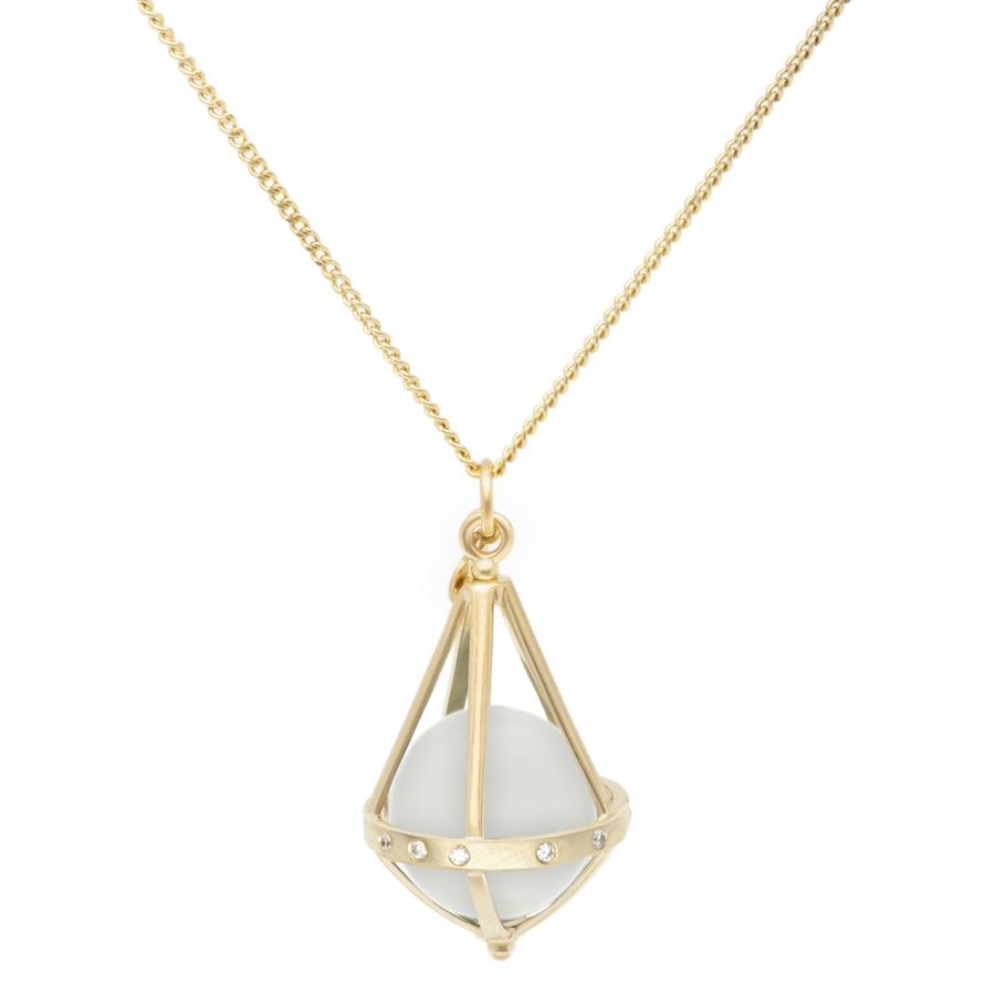 Pentagonal Cage Necklace - moonstone, scattered pave