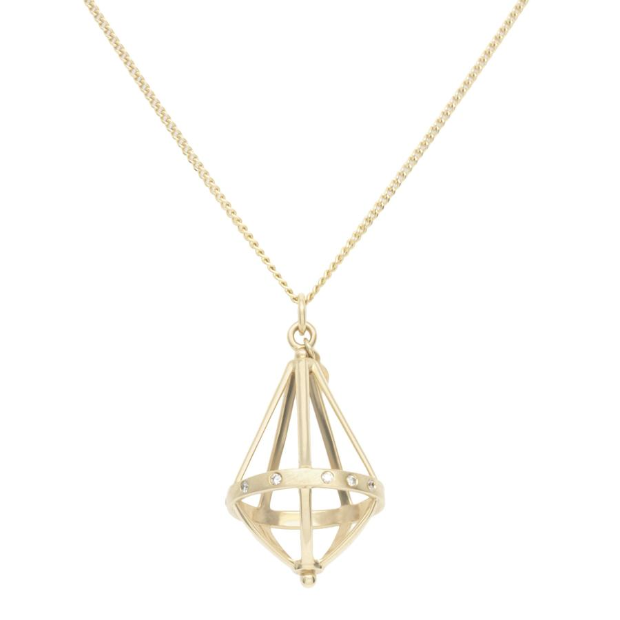 Pentagonal Cage Necklace - no gemstone, scattered pave
