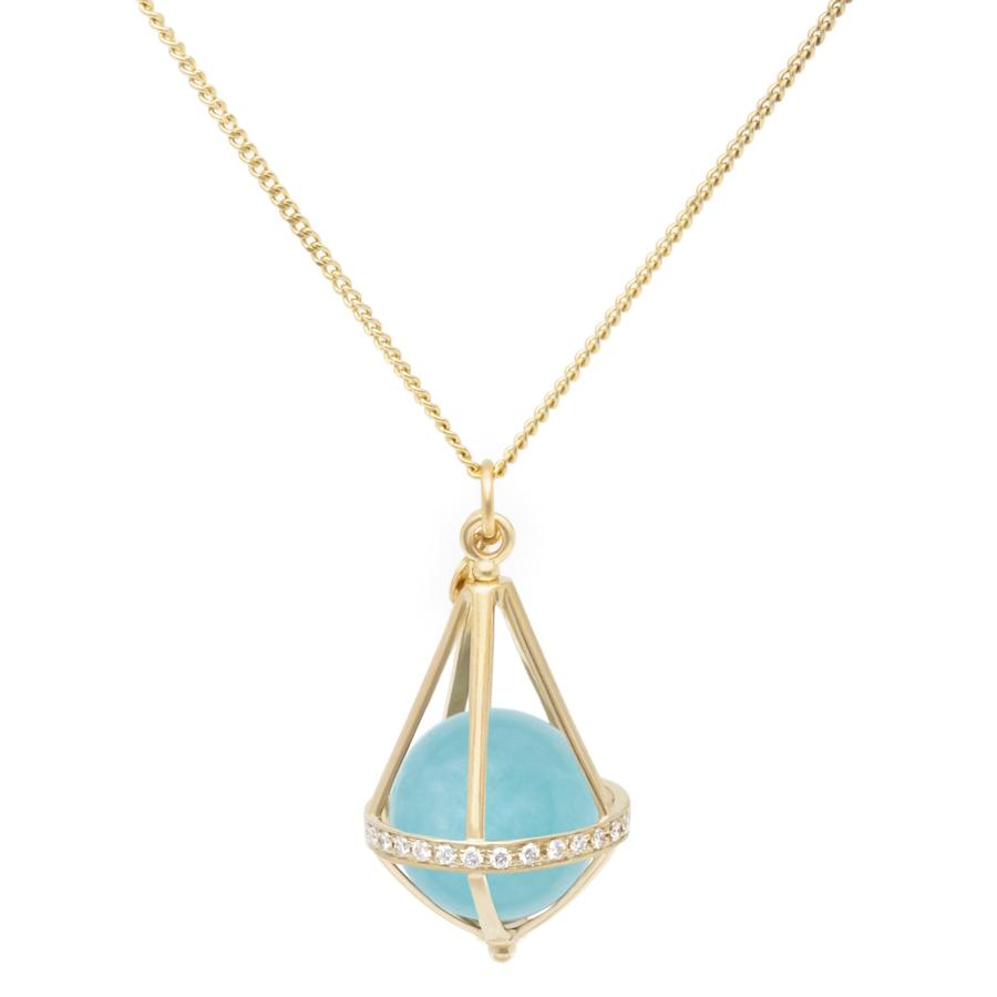 Pentagonal Cage Necklace - amazonite, full pave