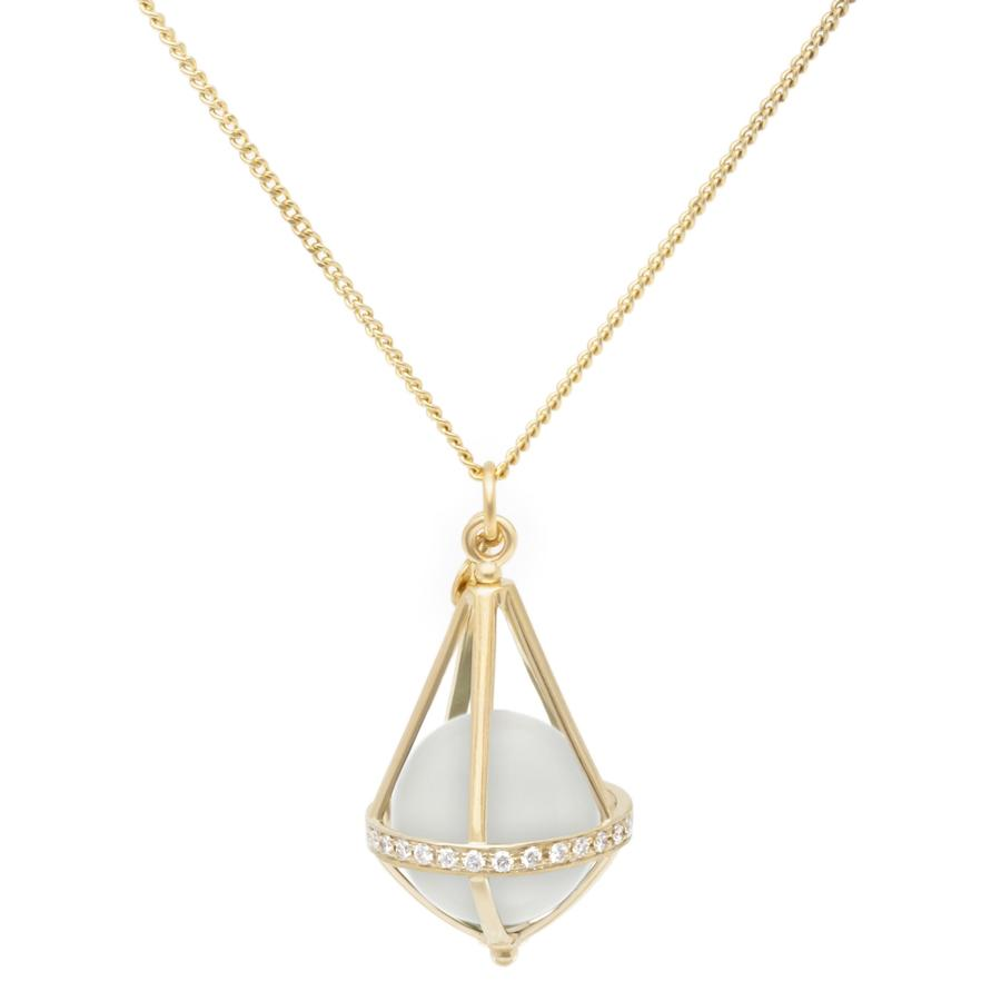 Pentagonal Cage Necklace - moonstone, full pave