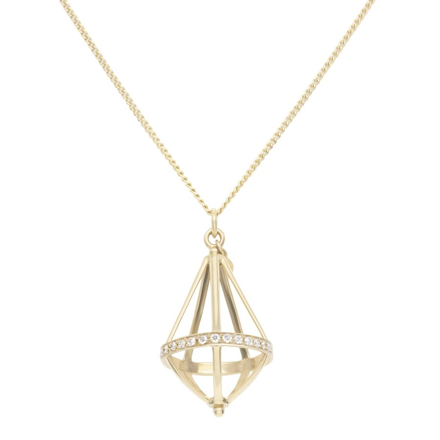 Pentagonal Cage Necklace - no gemstone, full pave