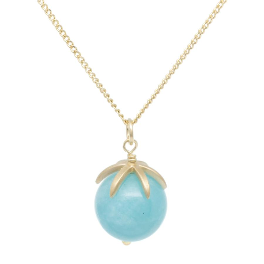 Gold Pendant Gemstone Sphere Necklace - Amazonite