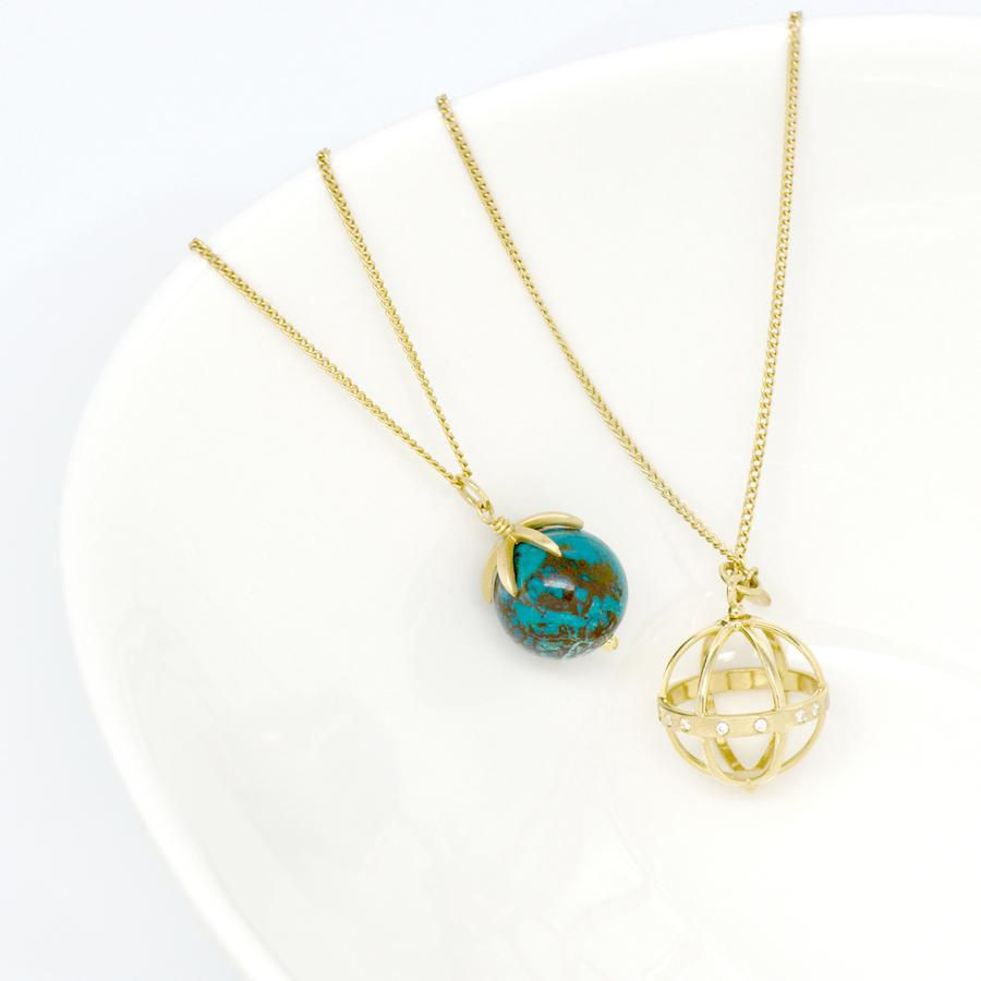 Gold Pendant Gemstone Sphere Necklace - Chrysocolla