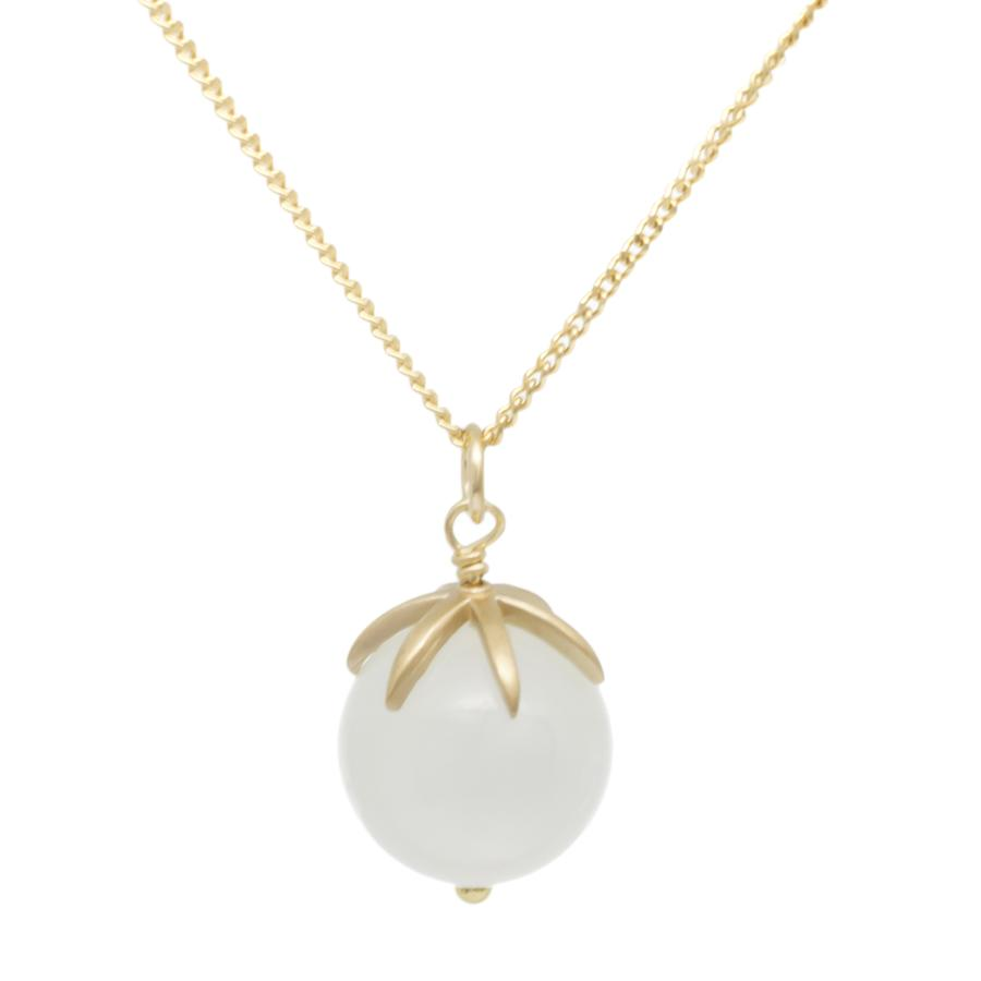 Gold Pendant Gemstone Sphere Necklace - Moonstone