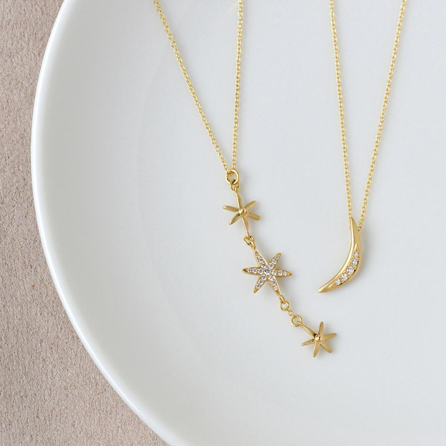 Pave Crescent Necklace | Magpie Jewellery