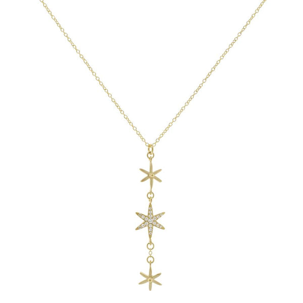 3 Star Pave Pendant Necklace | Magpie Jewellery