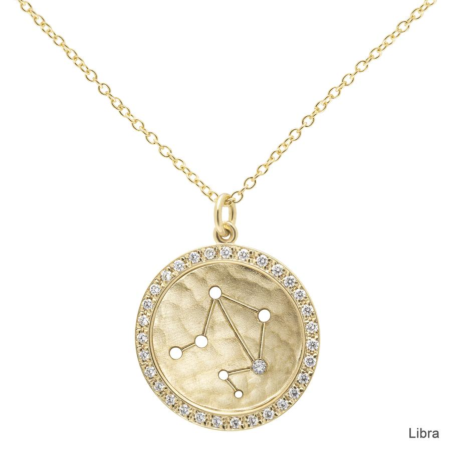 Pave Halo Celestial Sign Necklace Libra | Magpie Jewellery