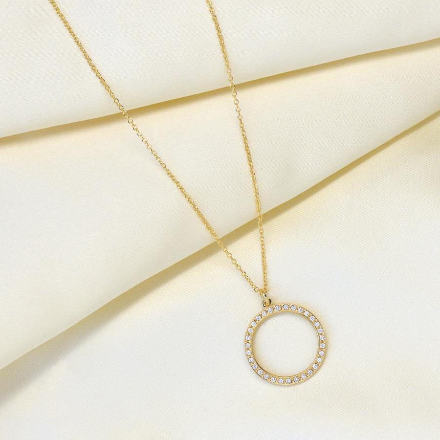 Halo Diamond Pave Open Circle Necklace | Magpie Jewellery