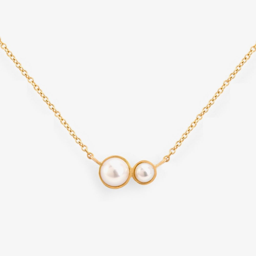 Gold Double Pearl Necklace | Magpie Jewellery