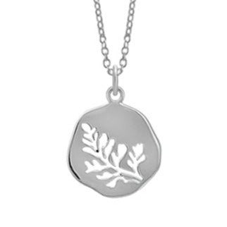 Silver Circle Pendant Necklace w/ Leaf