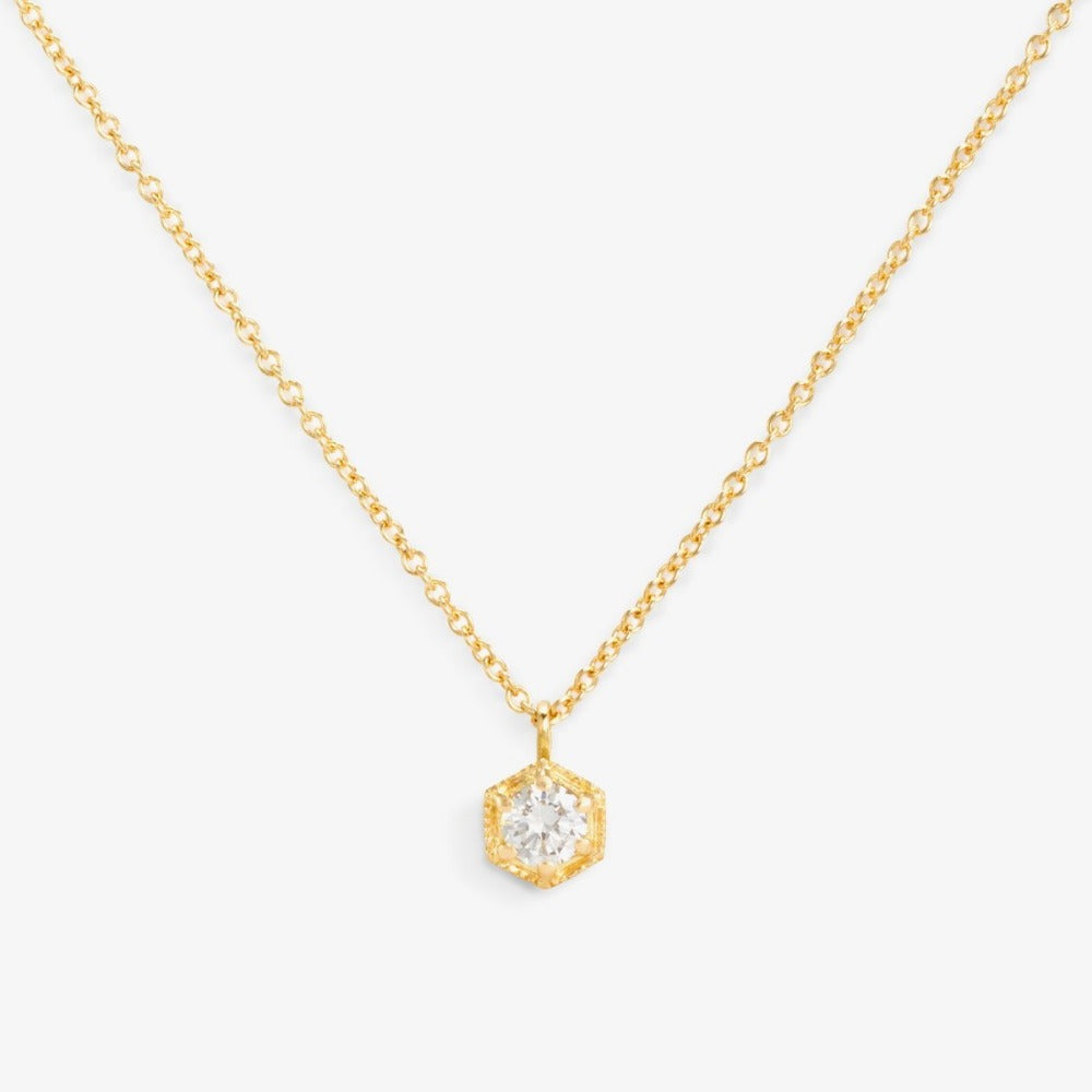 White Diamond Hexagon Necklace