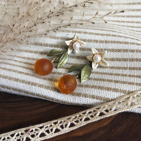 Orange Blossom Flower Drop Studs