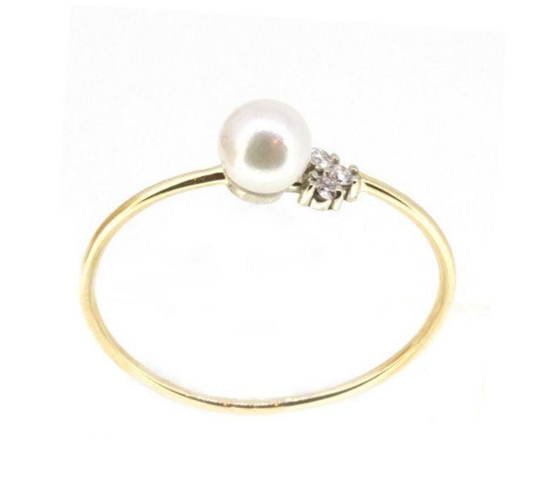 Pearl & Diamond Trio Ring | Magpie Jewellery