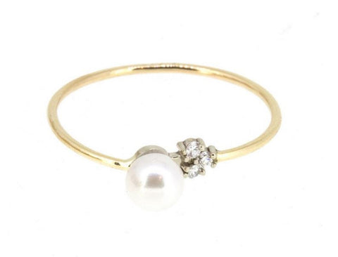PEARL DIAMOND TRIO RING