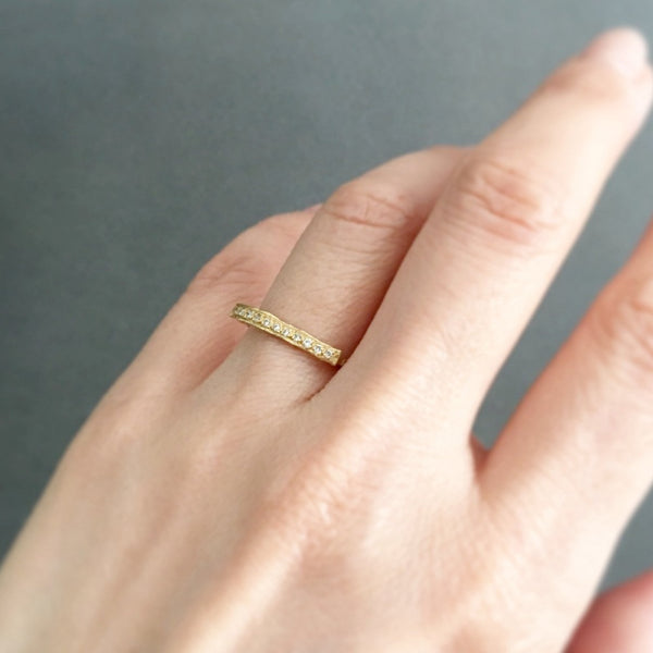 Diamond Bridge Ring YG | Magpie Jewellery