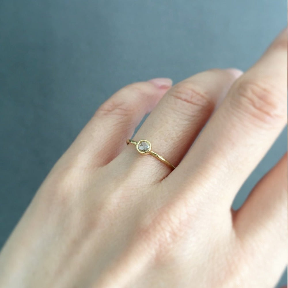 Rose Cut Solitaire Ring YG | Magpie Jewellery
