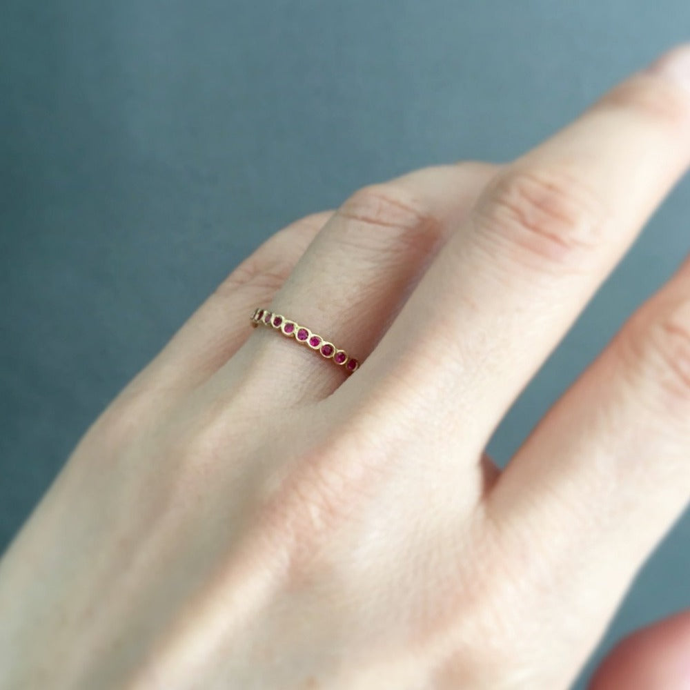 Small Ruby Circle Eternity Band YG | Magpie Jewellery